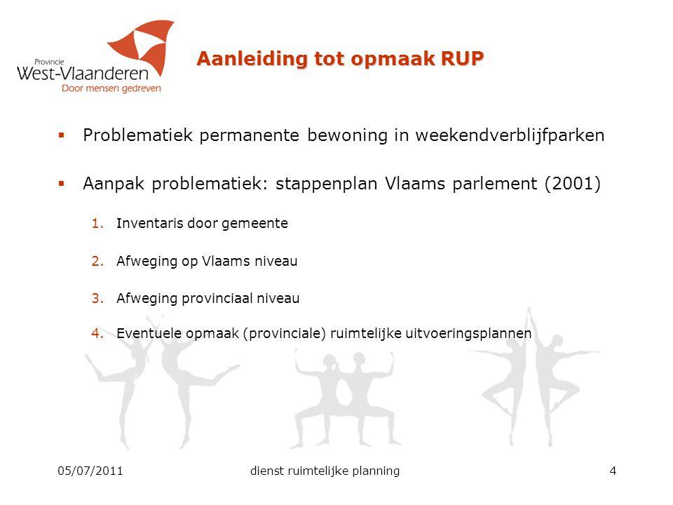 Aanleiding tot opmaak RUP  Problematiek permanente bewoning in weekendverblijfparken  Aanpak problematiek: stappenplan Vlaams parlement (2001) 1.Inv