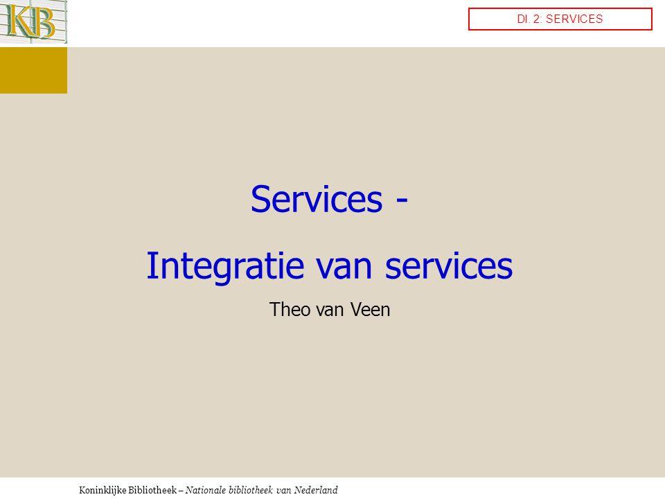 Koninklijke Bibliotheek – Nationale bibliotheek van Nederland Services - Integratie van services Theo van Veen Dl.