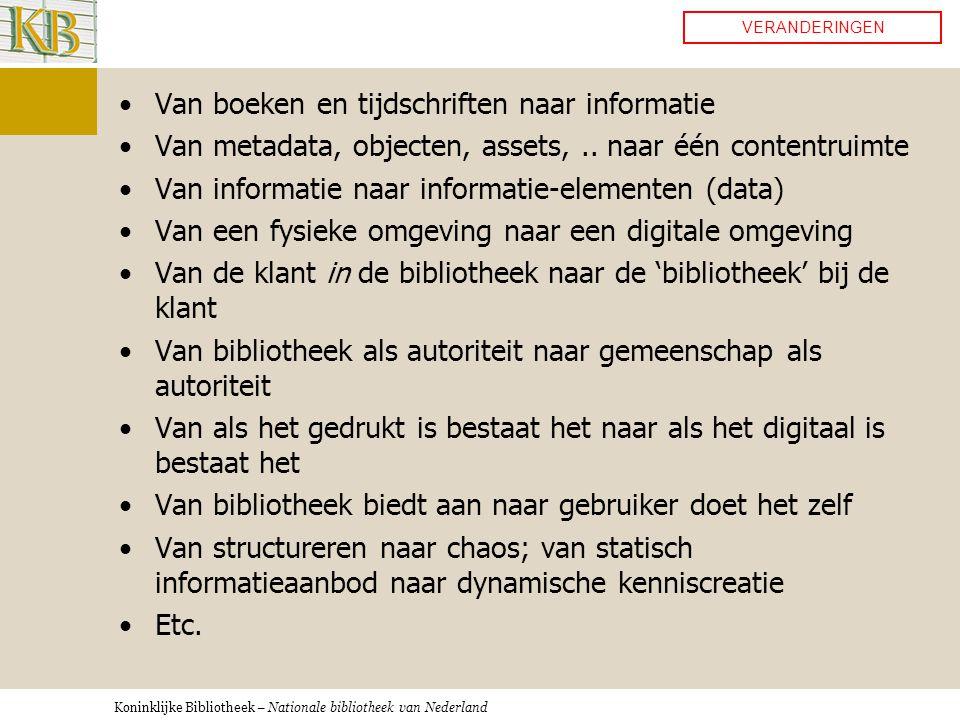 Koninklijke Bibliotheek – Nationale bibliotheek van Nederland •Van boeken en tijdschriften naar informatie •Van metadata, objecten, assets,..