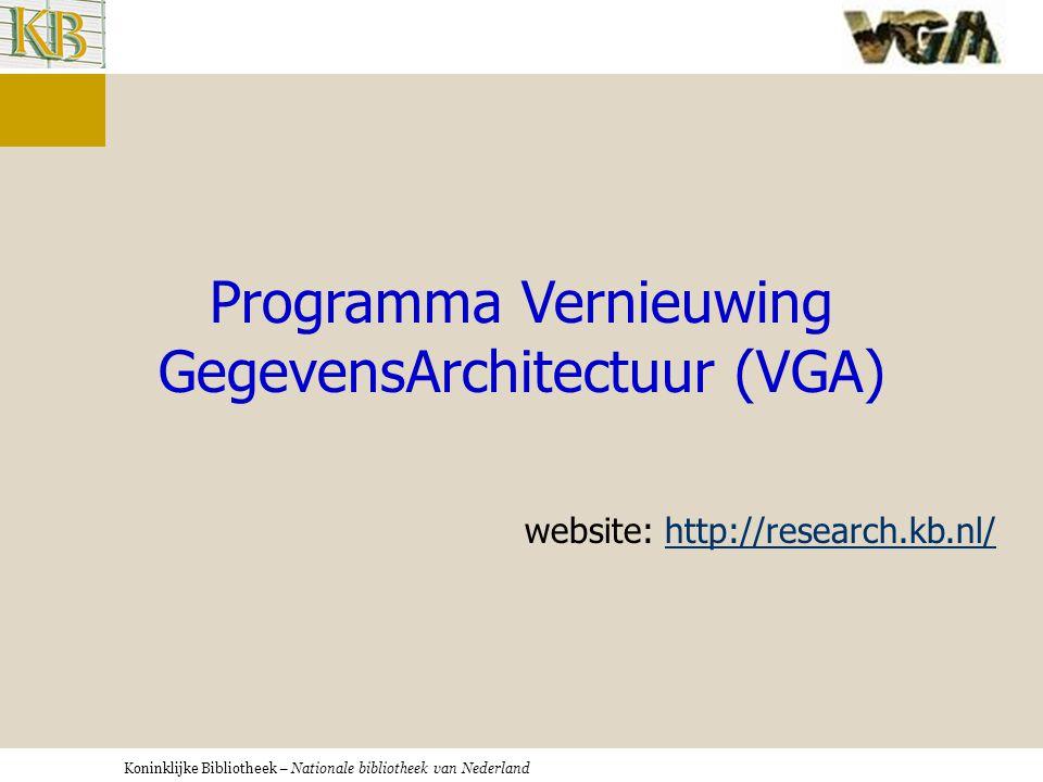 Koninklijke Bibliotheek – Nationale bibliotheek van Nederland Programma Vernieuwing GegevensArchitectuur (VGA) website: http://research.kb.nl/http://research.kb.nl/