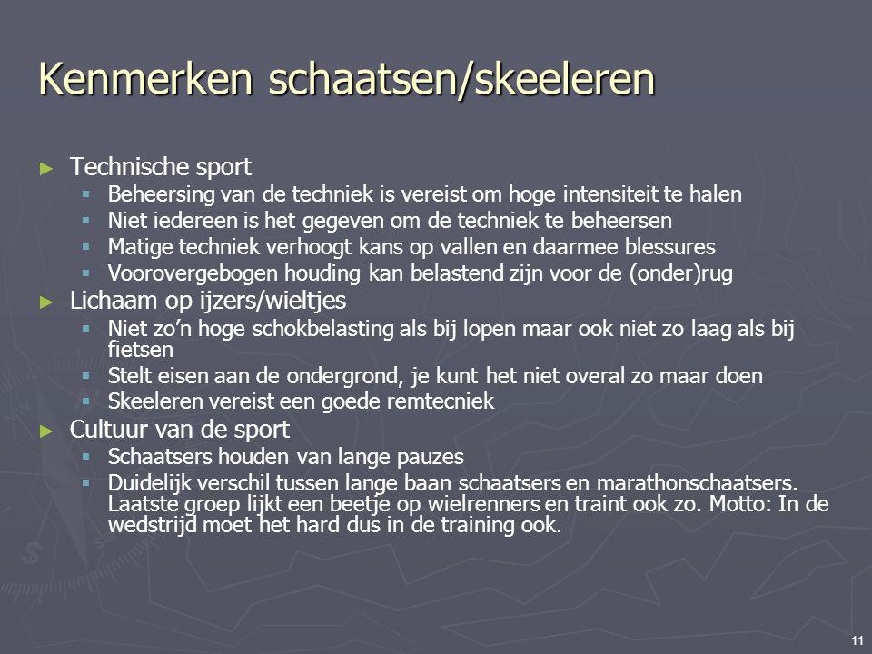 11 Kenmerken schaatsen/skeeleren ► Technische sport  Beheersing van de techniek is vereist om hoge intensiteit te halen  Niet iedereen is het gegeve