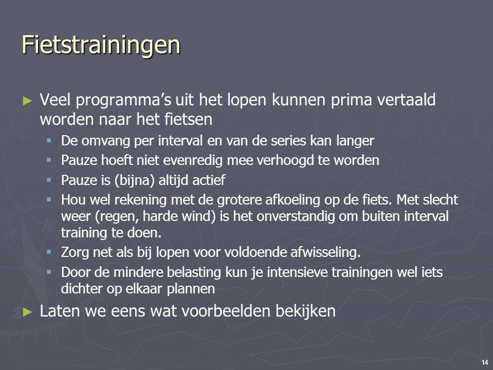 14 Fietstrainingen ► Veel programma's uit het lopen kunnen prima vertaald worden naar het fietsen  De omvang per interval en van de series kan langer