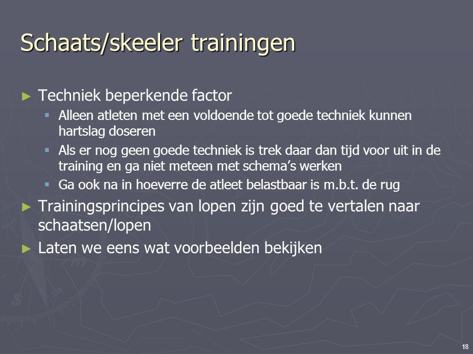 18 Schaats/skeeler trainingen ► Techniek beperkende factor  Alleen atleten met een voldoende tot goede techniek kunnen hartslag doseren  Als er nog