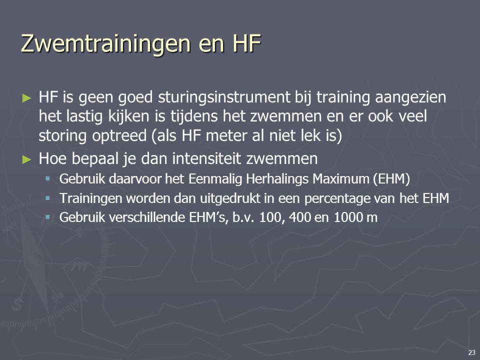 23 Zwemtrainingen en HF ► HF is geen goed sturingsinstrument bij training aangezien het lastig kijken is tijdens het zwemmen en er ook veel storing op
