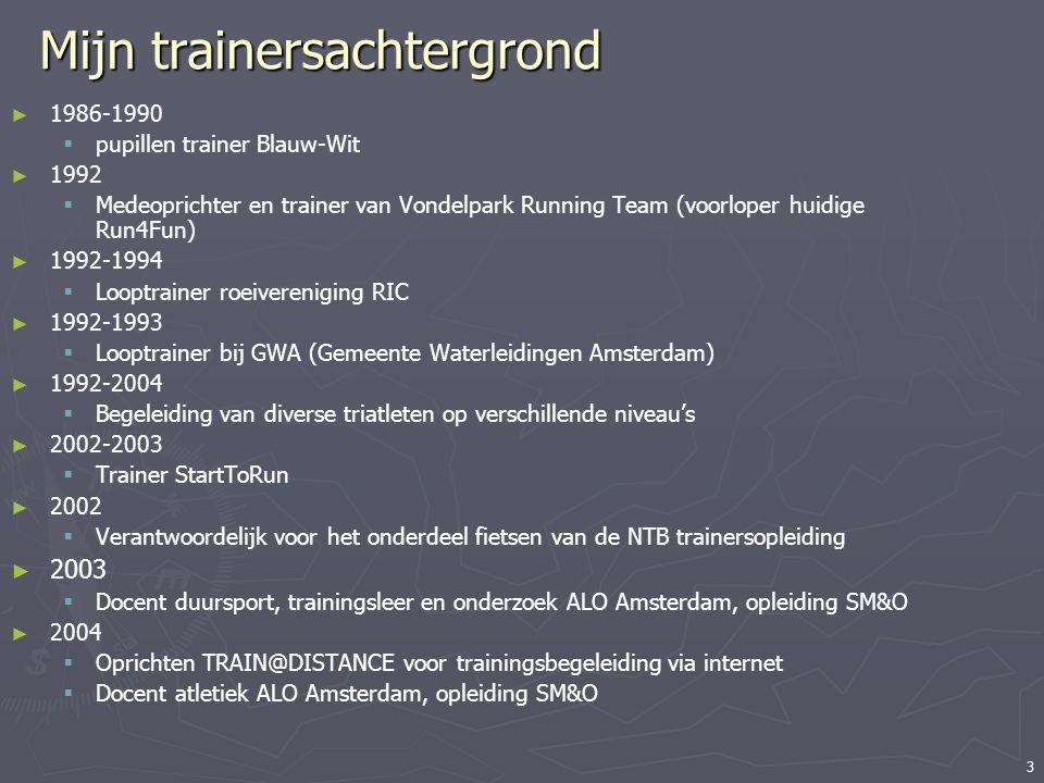 3 Mijn trainersachtergrond ► 1986-1990  pupillen trainer Blauw-Wit ► 1992  Medeoprichter en trainer van Vondelpark Running Team (voorloper huidige R