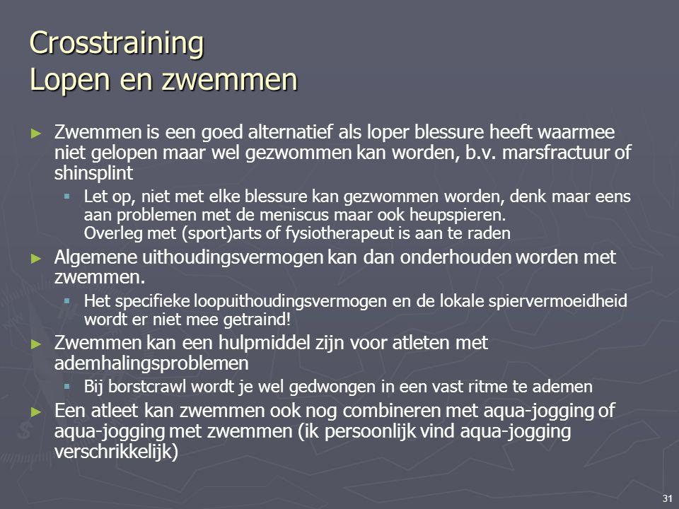 31 Crosstraining Lopen en zwemmen ► Zwemmen is een goed alternatief als loper blessure heeft waarmee niet gelopen maar wel gezwommen kan worden, b.v.