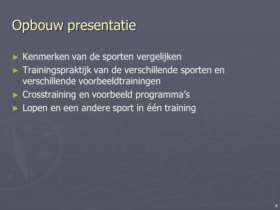 4 Opbouw presentatie ► Kenmerken van de sporten vergelijken ► Trainingspraktijk van de verschillende sporten en verschillende voorbeeldtrainingen ► Cr