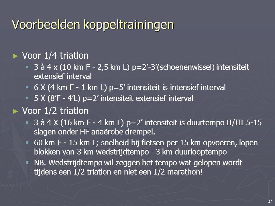42 Voorbeelden koppeltrainingen ► Voor 1/4 triatlon  3 à 4 x (10 km F - 2,5 km L) p=2'-3'(schoenenwissel) intensiteit extensief interval  6 X (4 km