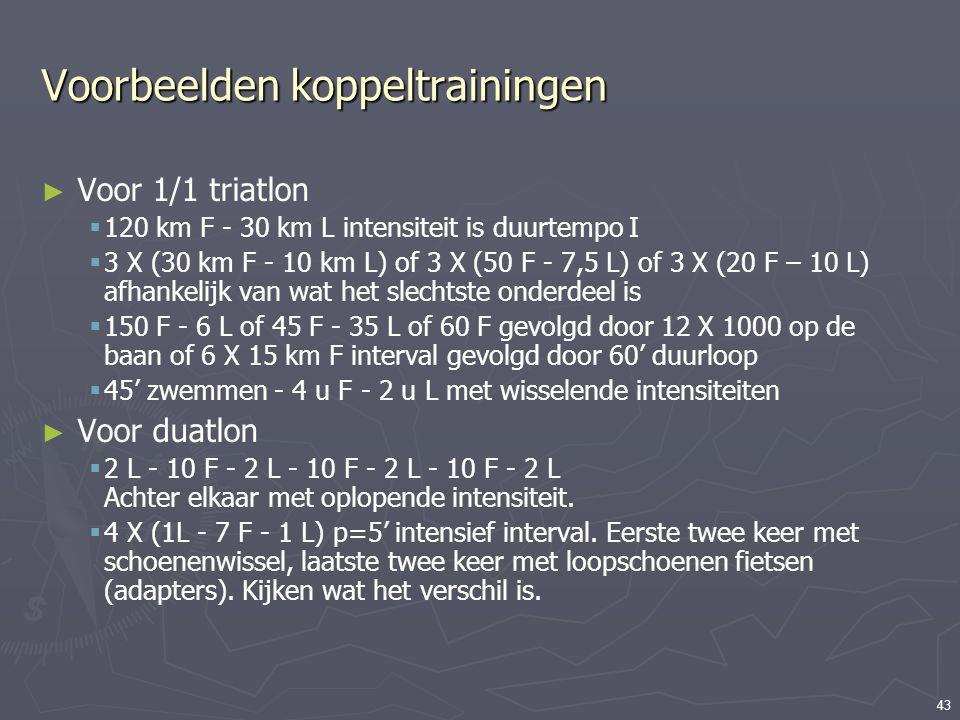 43 Voorbeelden koppeltrainingen ► Voor 1/1 triatlon  120 km F - 30 km L intensiteit is duurtempo I  3 X (30 km F - 10 km L) of 3 X (50 F - 7,5 L) of