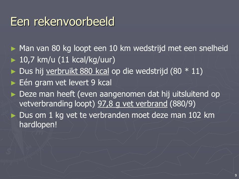 9 Een rekenvoorbeeld ► Man van 80 kg loopt een 10 km wedstrijd met een snelheid ► 10,7 km/u (11 kcal/kg/uur) ► Dus hij verbruikt 880 kcal op die wedst