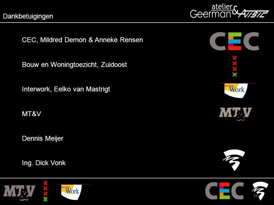 Dankbetuigingen CEC, Mildred Demon & Anneke Rensen Bouw en Woningtoezicht, Zuidoost Interwork, Eelko van Mastrigt MT&V Dennis Meijer Ing.