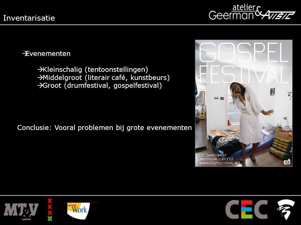  Evenementen  Kleinschalig (tentoonstellingen)  Middelgroot (literair café, kunstbeurs)  Groot (drumfestival, gospelfestival) Conclusie: Vooral problemen bij grote evenementen Inventarisatie 5
