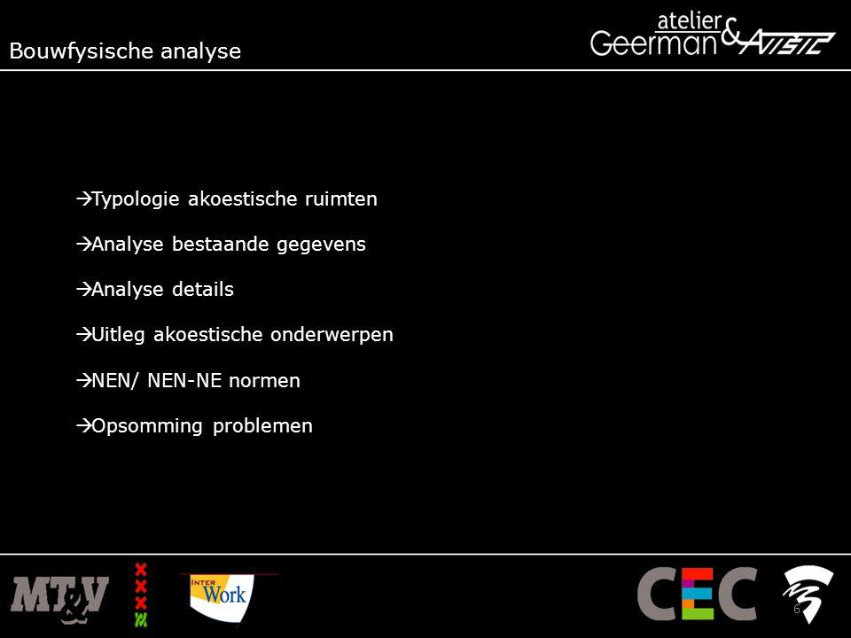  Typologie akoestische ruimten  Analyse bestaande gegevens  Analyse details  Uitleg akoestische onderwerpen  NEN/ NEN-NE normen  Opsomming problemen Bouwfysische analyse 6