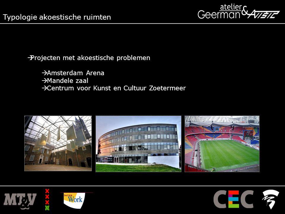  Projecten met akoestische problemen  Amsterdam Arena  Mandele zaal  Centrum voor Kunst en Cultuur Zoetermeer Typologie akoestische ruimten 7