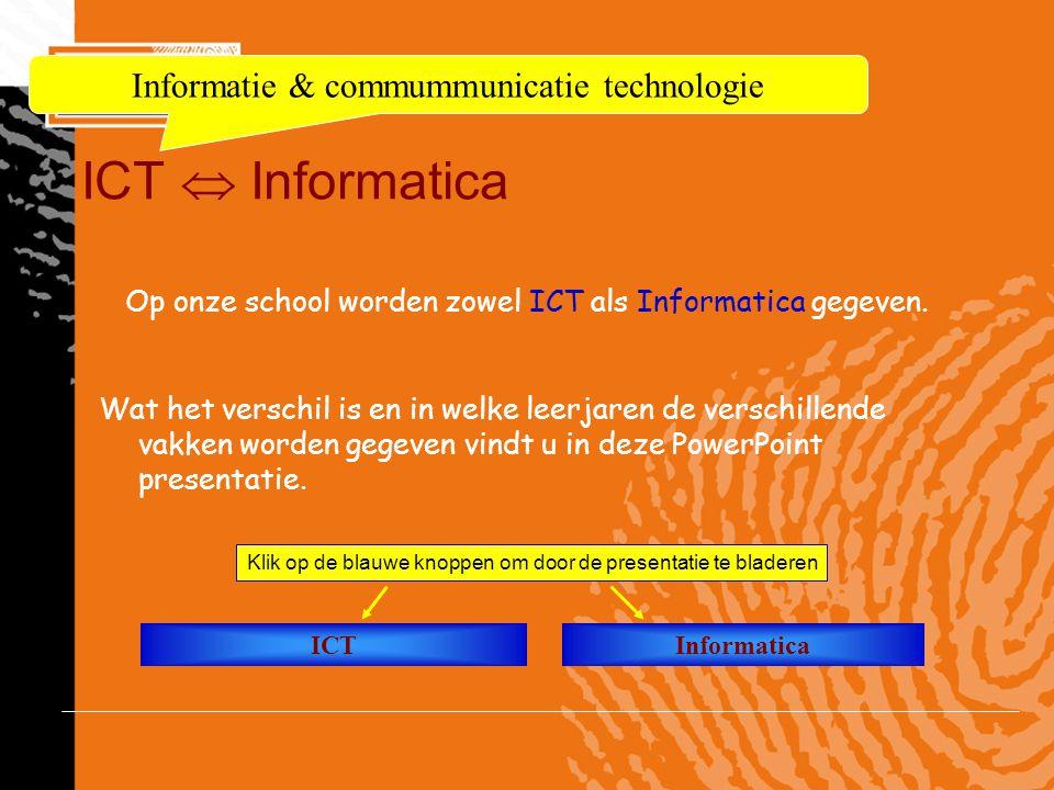 ICT  Informatica Op onze school worden zowel ICT als Informatica gegeven. Wat het verschil is en in welke leerjaren de verschillende vakken worden ge