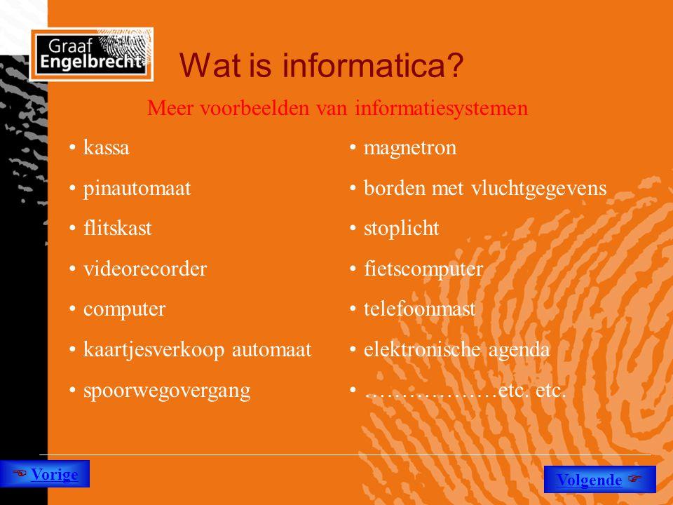 Wat is informatica? •kassa •pinautomaat •flitskast •videorecorder •computer •kaartjesverkoop automaat •spoorwegovergang •magnetron •borden met vluchtg