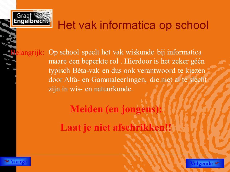 Het vak informatica op school Belangrijk: Op school speelt het vak wiskunde bij informatica maare een beperkte rol. Hierdoor is het zeker géén typisch