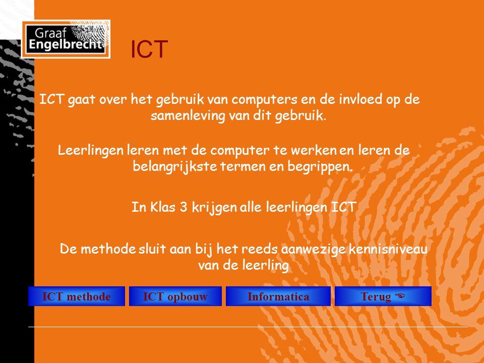 ICT Leerlingen leren met de computer te werken en leren de belangrijkste termen en begrippen. In Klas 3 krijgen alle leerlingen ICT ICT methodeICT opb