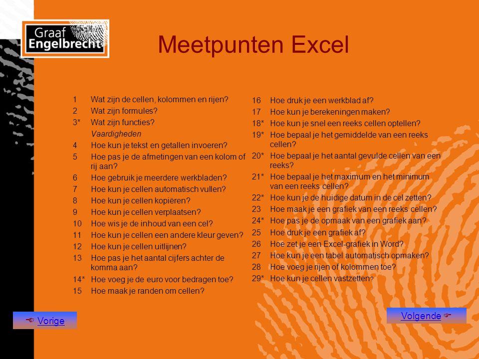 Meetpunten Excel 1Wat zijn de cellen, kolommen en rijen? 2Wat zijn formules? 3*Wat zijn functies? Vaardigheden 4Hoe kun je tekst en getallen invoeren?