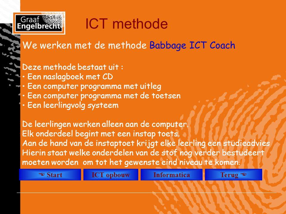 ICT methode We werken met de methode Babbage ICT Coach Deze methode bestaat uit : • Een naslagboek met CD • Een computer programma met uitleg • Een co