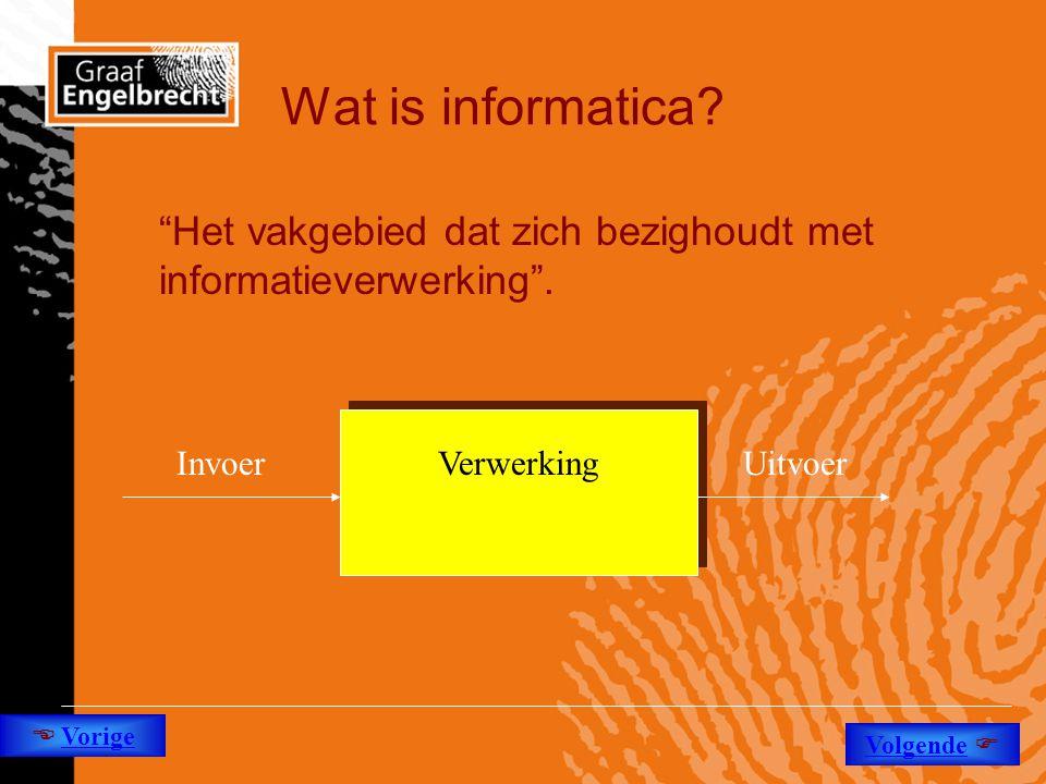 """Wat is informatica? """"Het vakgebied dat zich bezighoudt met informatieverwerking"""". InvoerUitvoerVerwerking  Vorige Volgende """