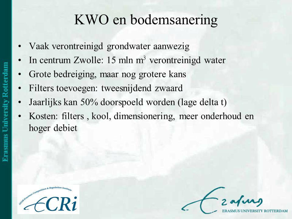 KWO en bodemsanering •Vaak verontreinigd grondwater aanwezig •In centrum Zwolle: 15 mln m 3 verontreinigd water •Grote bedreiging, maar nog grotere kans •Filters toevoegen: tweesnijdend zwaard •Jaarlijks kan 50% doorspoeld worden (lage delta t) •Kosten: filters, kool, dimensionering, meer onderhoud en hoger debiet