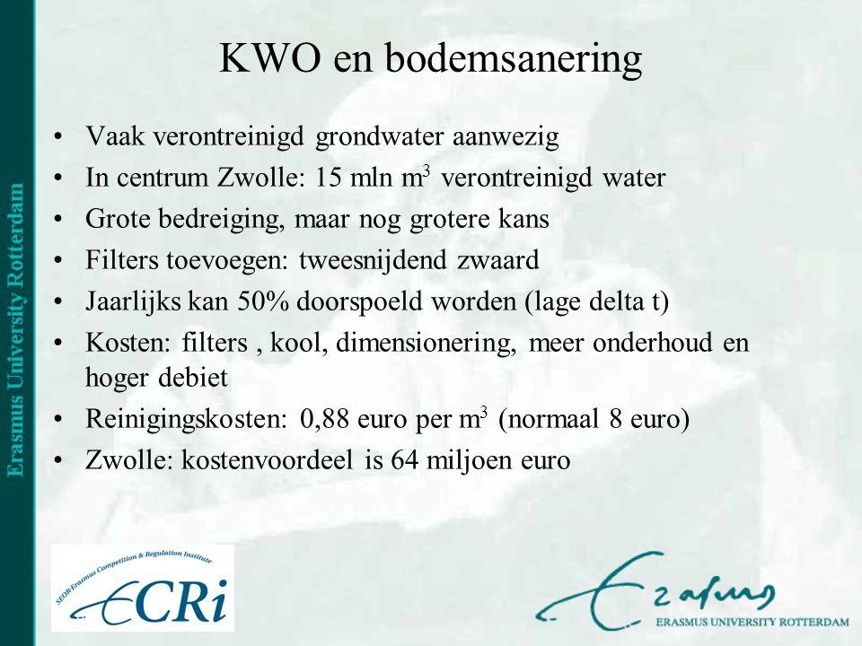 KWO en bodemsanering •Vaak verontreinigd grondwater aanwezig •In centrum Zwolle: 15 mln m 3 verontreinigd water •Grote bedreiging, maar nog grotere kans •Filters toevoegen: tweesnijdend zwaard •Jaarlijks kan 50% doorspoeld worden (lage delta t) •Kosten: filters, kool, dimensionering, meer onderhoud en hoger debiet •Reinigingskosten: 0,88 euro per m 3 (normaal 8 euro) •Zwolle: kostenvoordeel is 64 miljoen euro