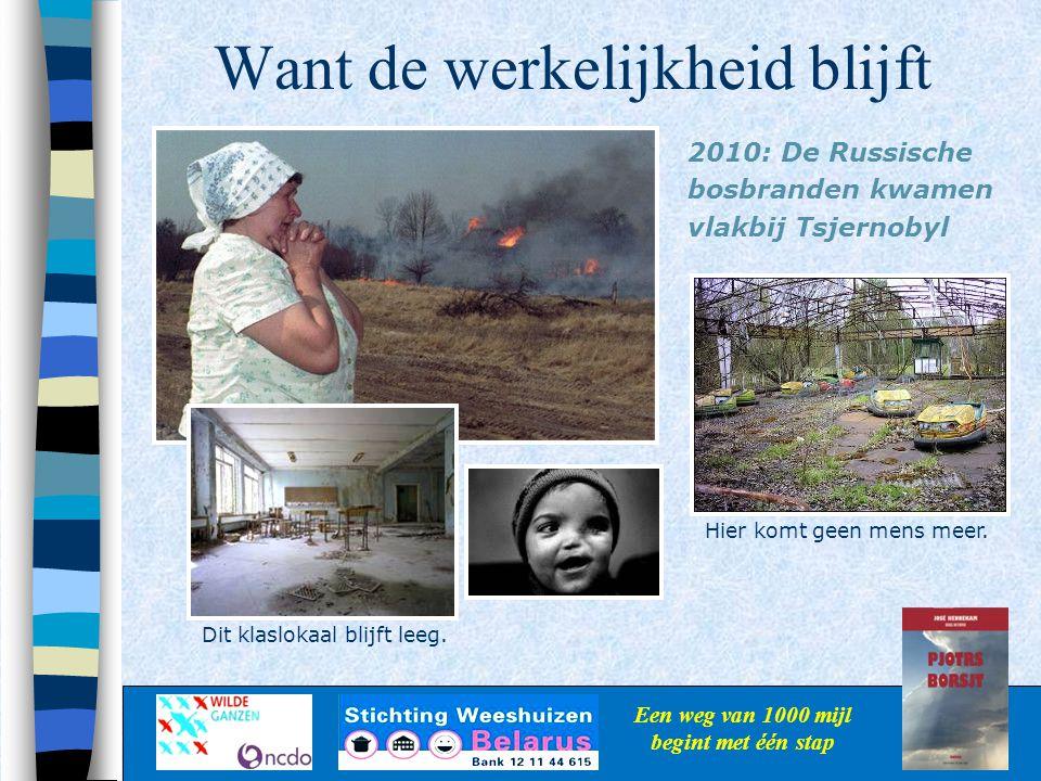 Want de werkelijkheid blijft Een weg van 1000 mijl begint met één stap 2010: De Russische bosbranden kwamen vlakbij Tsjernobyl Dit klaslokaal blijft l