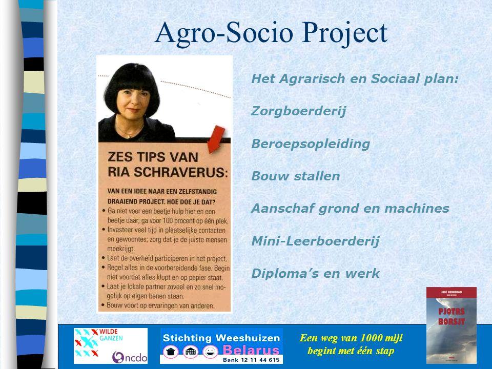 Agro-Socio Project Een weg van 1000 mijl begint met één stap Het Agrarisch en Sociaal plan: Zorgboerderij Beroepsopleiding Bouw stallen Aanschaf grond