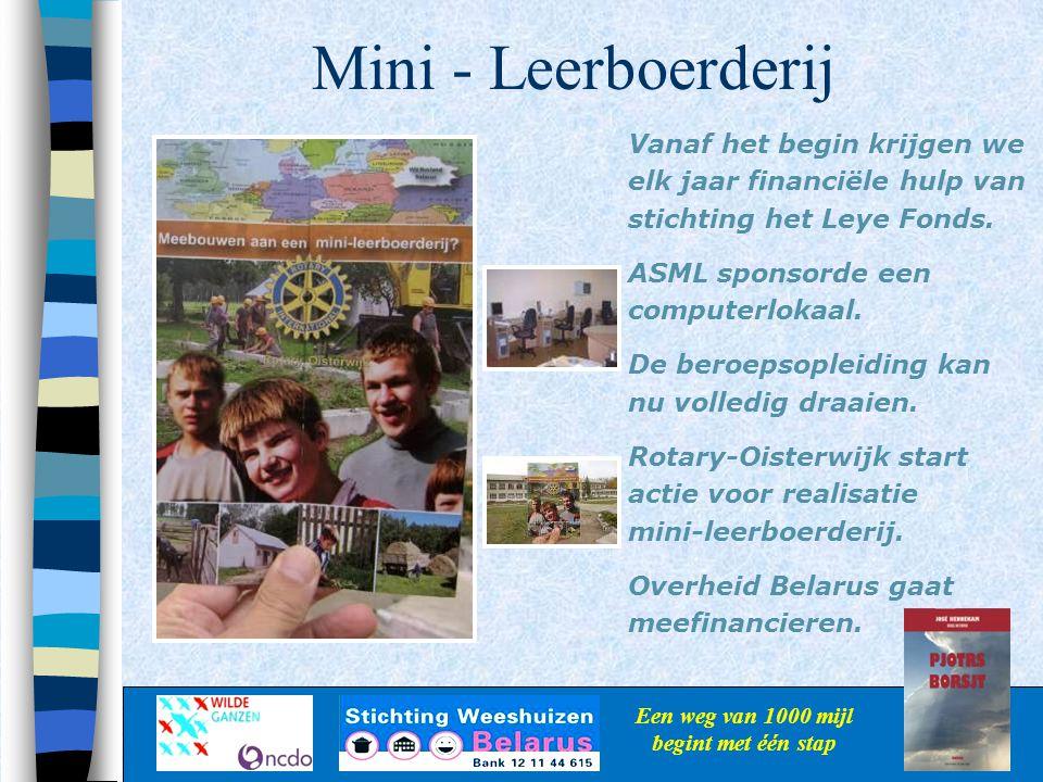 Mini - Leerboerderij Een weg van 1000 mijl begint met één stap Vanaf het begin krijgen we elk jaar financiële hulp van stichting het Leye Fonds. ASML