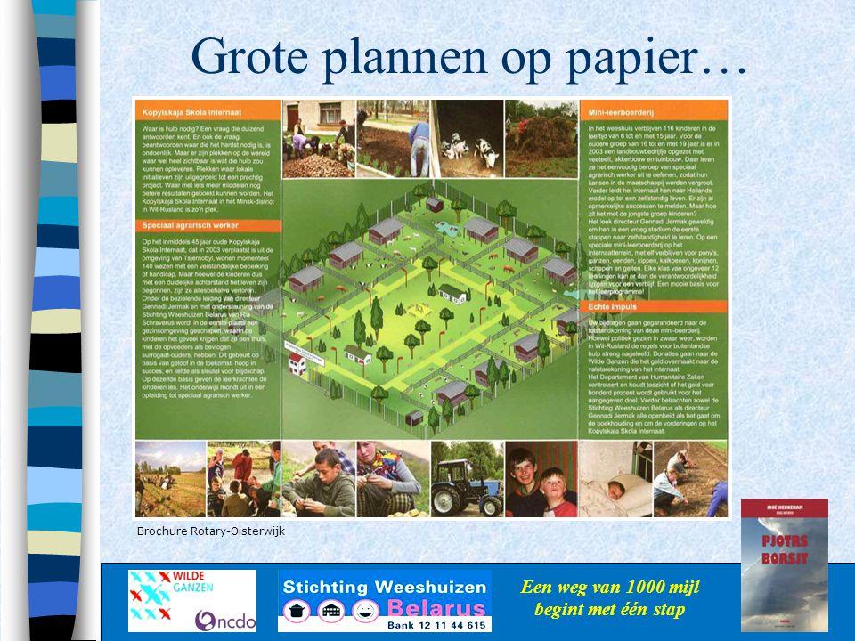 Grote plannen op papier… Een weg van 1000 mijl begint met één stap Brochure Rotary-Oisterwijk