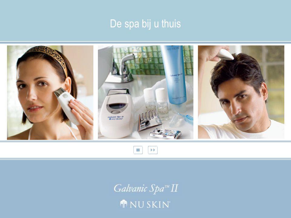 Nu Skin ® Galvanic Spa ™ Facial Gels met de NIEUWE ageLOC ™ technologie Herstelt en beschermt de natuurlijke glans van de huid Nu Skin ® Galvanic Spa™ Pre-Treatment en Treatment Gel verwijderen onzuiverheden en revitaliseren uw huid.