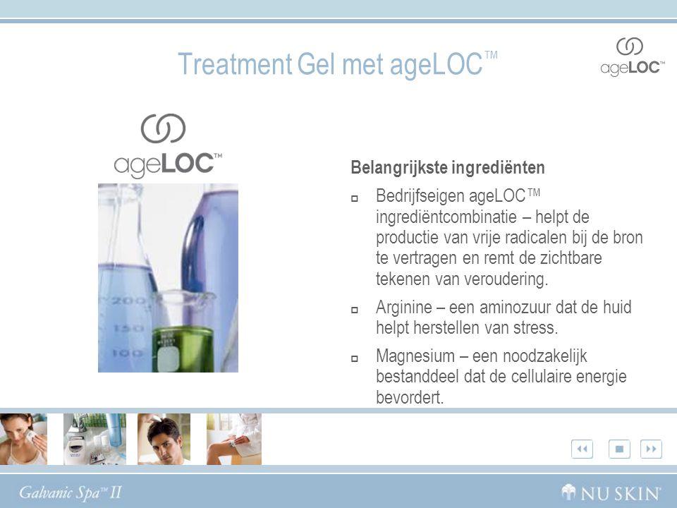 Belangrijkste ingrediënten  Bedrijfseigen ageLOC™ ingrediëntcombinatie – helpt de productie van vrije radicalen bij de bron te vertragen en remt de zichtbare tekenen van veroudering.