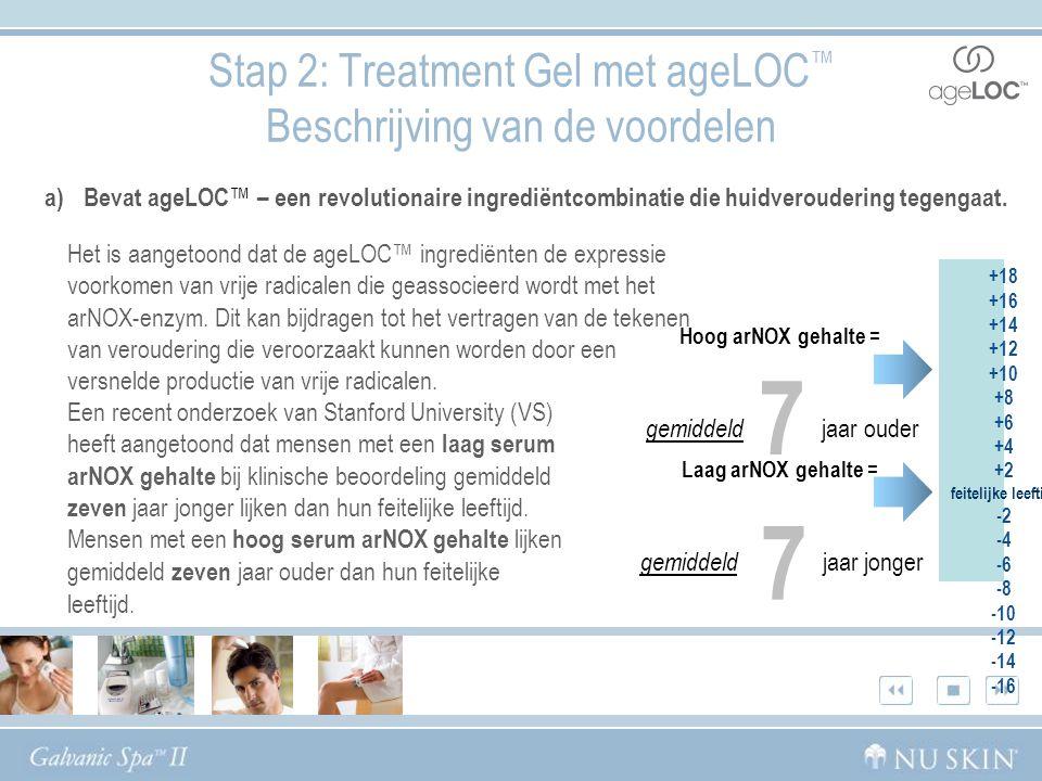 Stap 2: Treatment Gel met ageLOC ™ Beschrijving van de voordelen Het is aangetoond dat de ageLOC™ ingrediënten de expressie voorkomen van vrije radicalen die geassocieerd wordt met het arNOX-enzym.