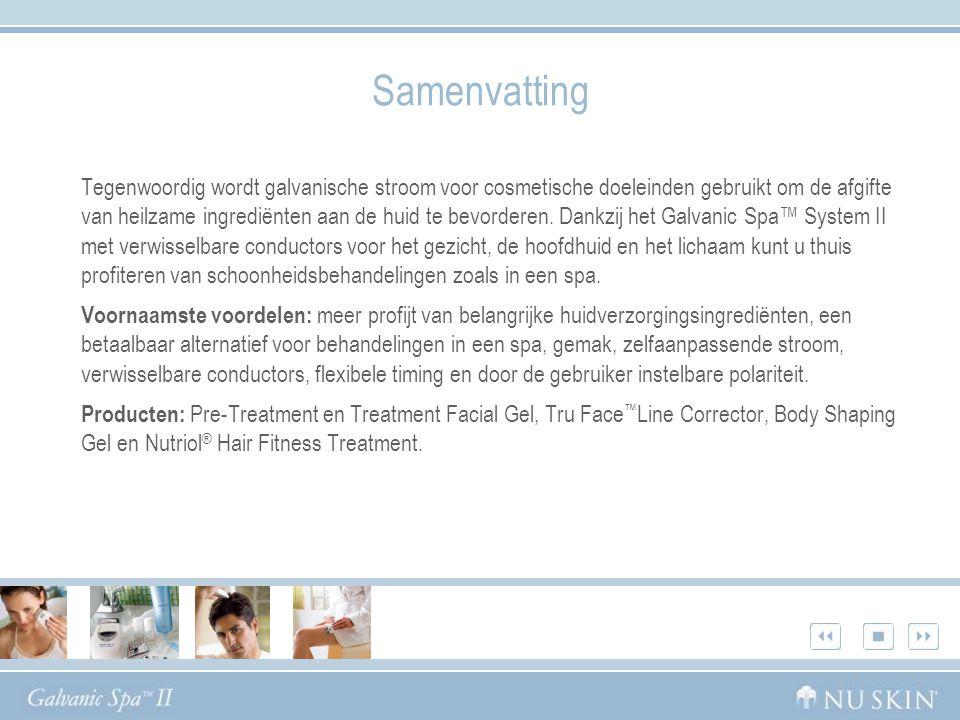 Samenvatting Tegenwoordig wordt galvanische stroom voor cosmetische doeleinden gebruikt om de afgifte van heilzame ingrediënten aan de huid te bevorderen.