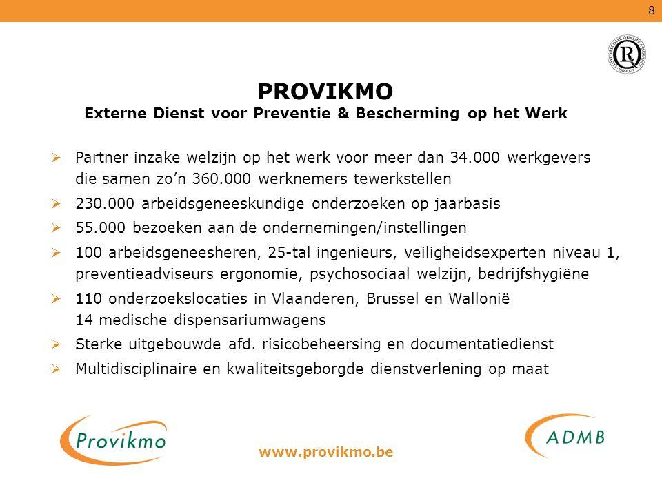 8 PROVIKMO Externe Dienst voor Preventie & Bescherming op het Werk  Partner inzake welzijn op het werk voor meer dan 34.000 werkgevers die samen zo'n