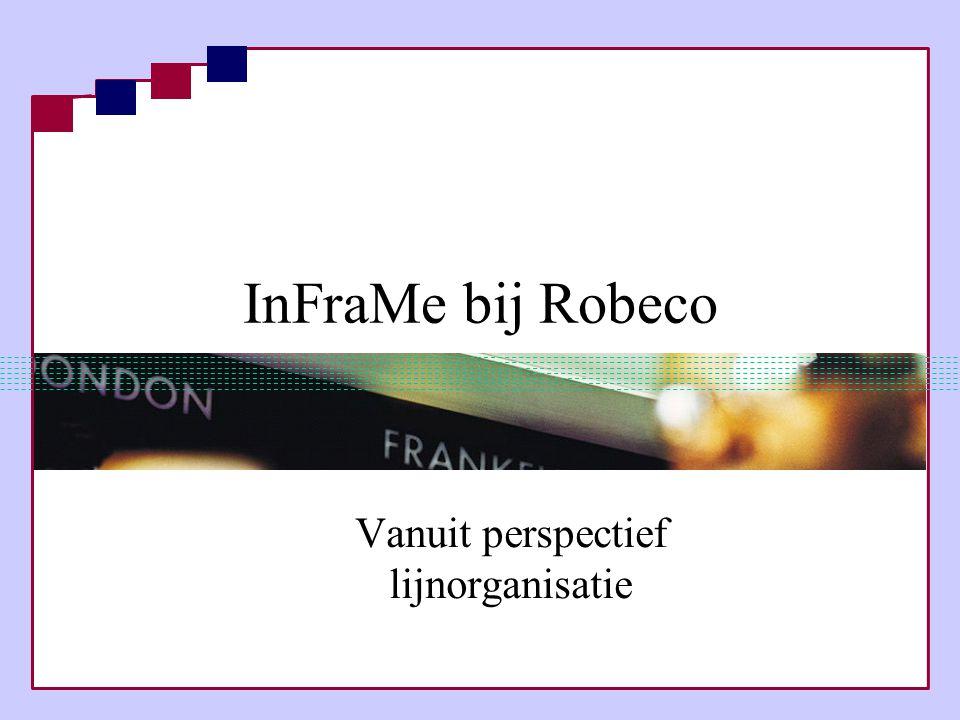 InFraMe bij Robeco Vanuit perspectief lijnorganisatie