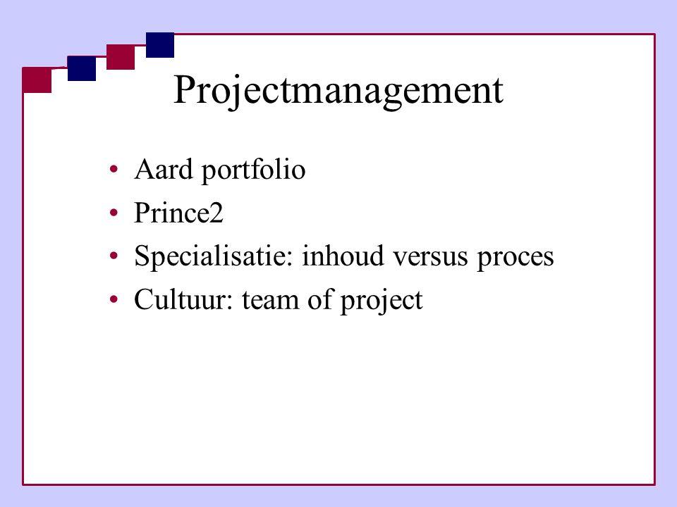 Projectmanagement •Aard portfolio •Prince2 •Specialisatie: inhoud versus proces •Cultuur: team of project