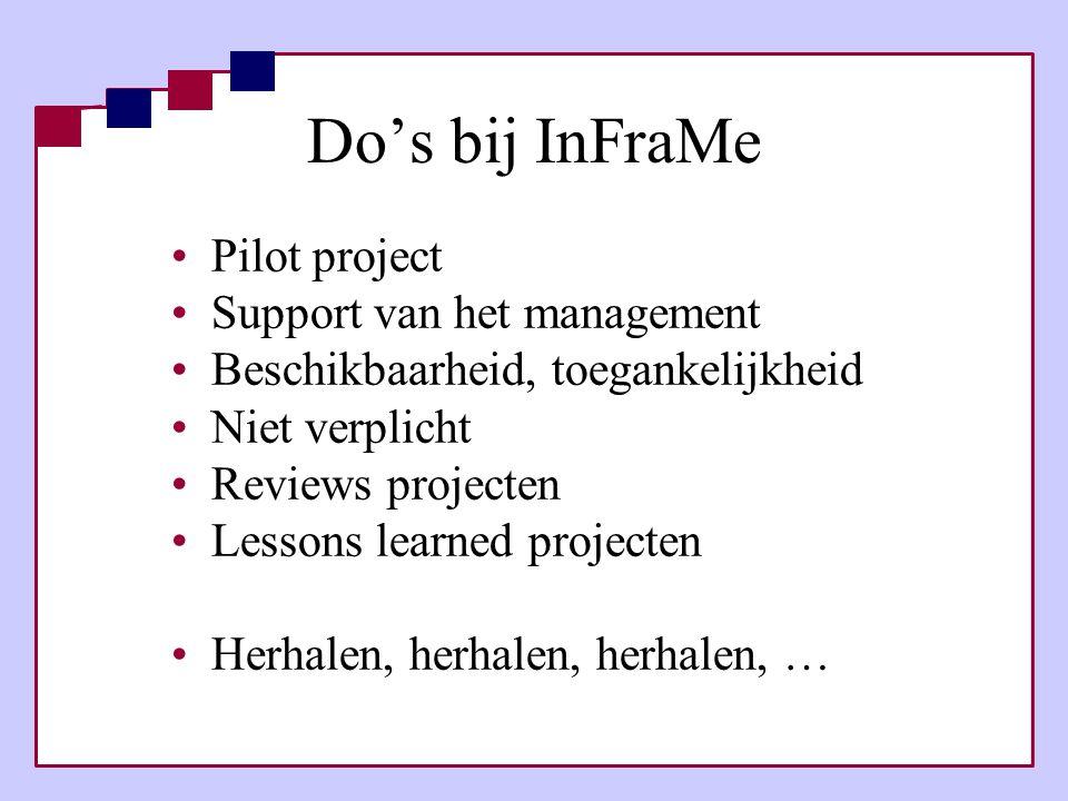 Do's bij InFraMe •Pilot project •Support van het management •Beschikbaarheid, toegankelijkheid •Niet verplicht •Reviews projecten •Lessons learned pro
