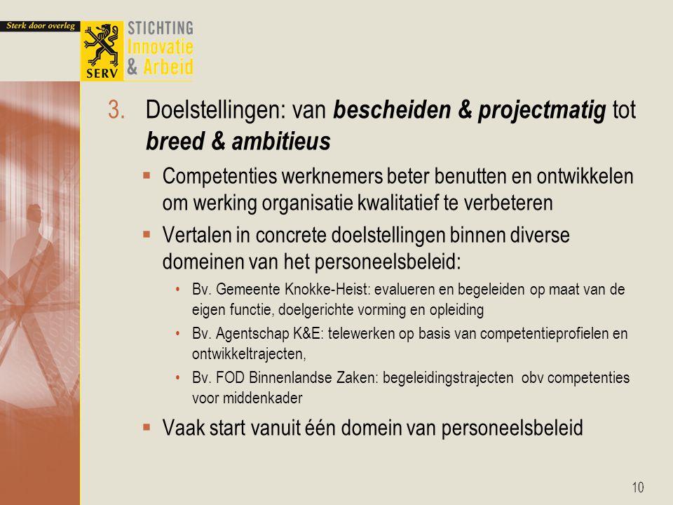 3.Doelstellingen: van bescheiden & projectmatig tot breed & ambitieus  Competenties werknemers beter benutten en ontwikkelen om werking organisatie kwalitatief te verbeteren  Vertalen in concrete doelstellingen binnen diverse domeinen van het personeelsbeleid: •Bv.