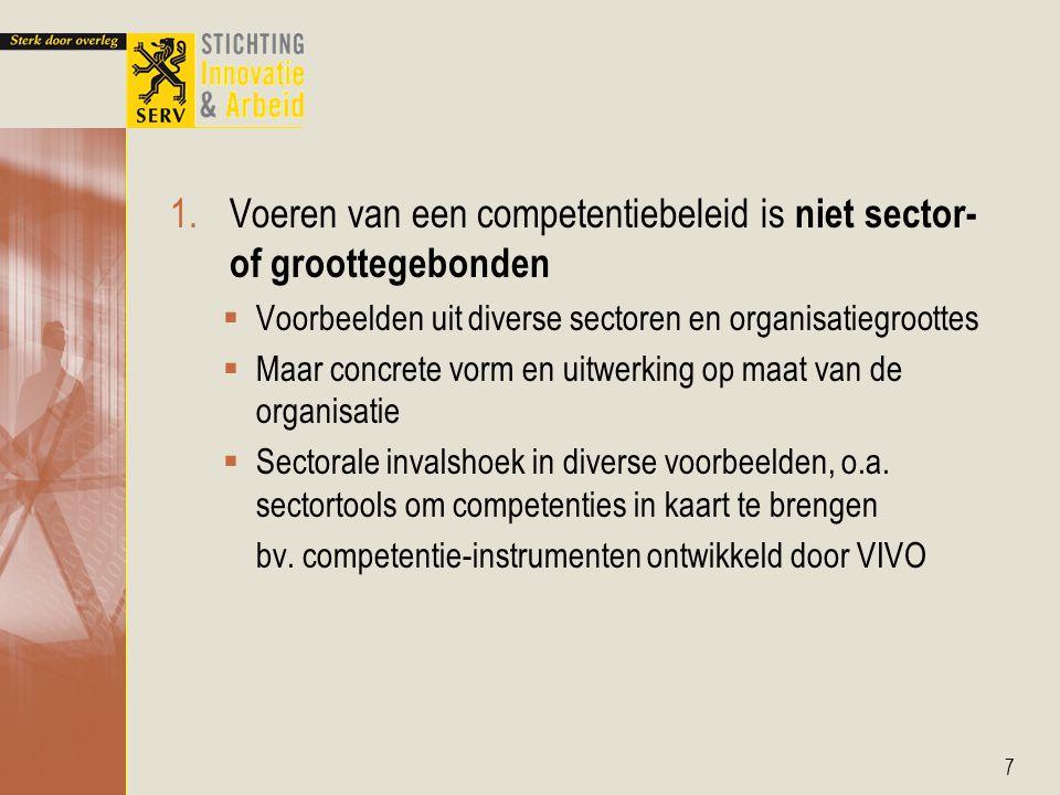 1.Voeren van een competentiebeleid is niet sector- of groottegebonden  Voorbeelden uit diverse sectoren en organisatiegroottes  Maar concrete vorm en uitwerking op maat van de organisatie  Sectorale invalshoek in diverse voorbeelden, o.a.