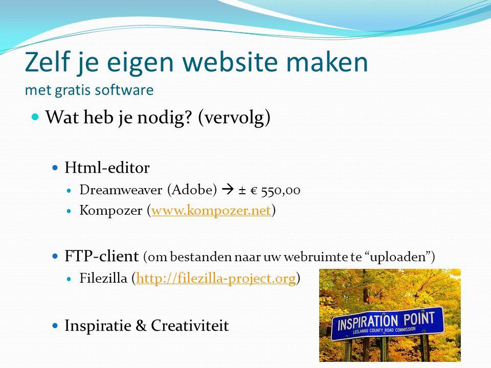 Zelf je eigen website maken met gratis software  Wat heb je nodig? (vervolg)  Html-editor  Dreamweaver (Adobe)  ± € 550,00  Kompozer (www.kompoze
