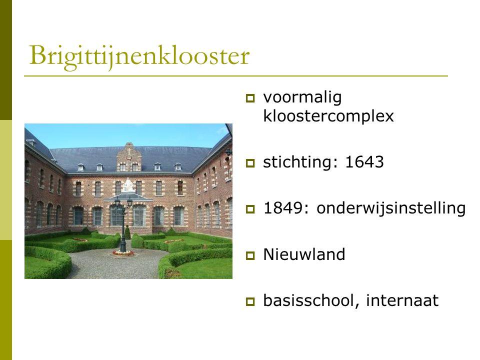 Brigittijnenklooster  voormalig kloostercomplex  stichting: 1643  1849: onderwijsinstelling  Nieuwland  basisschool, internaat