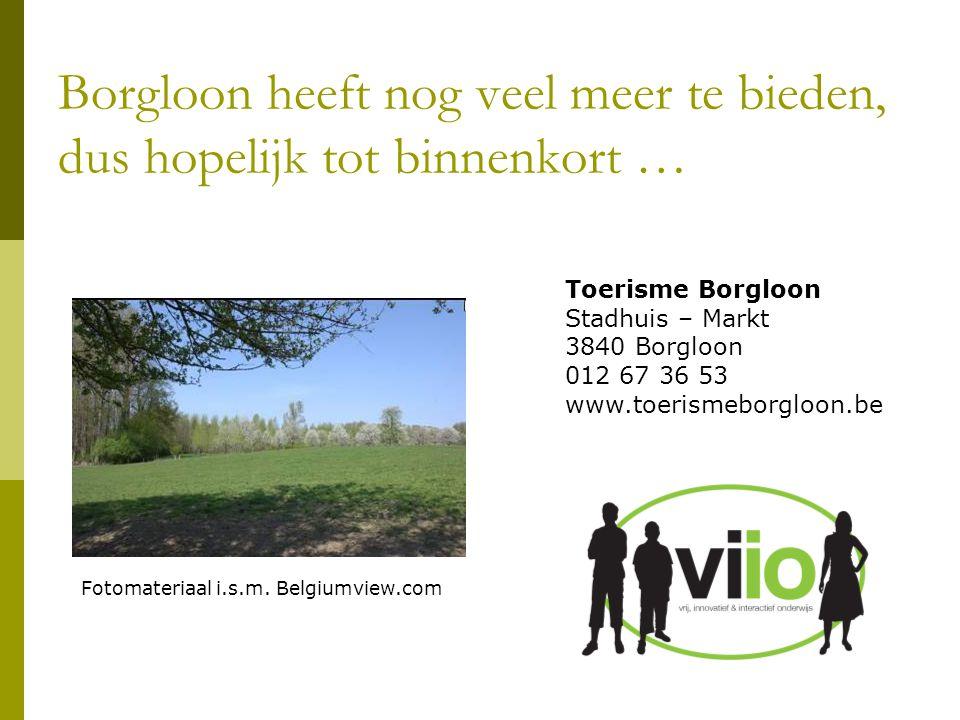 Toerisme Borgloon Stadhuis – Markt 3840 Borgloon 012 67 36 53 www.toerismeborgloon.be Borgloon heeft nog veel meer te bieden, dus hopelijk tot binnenk