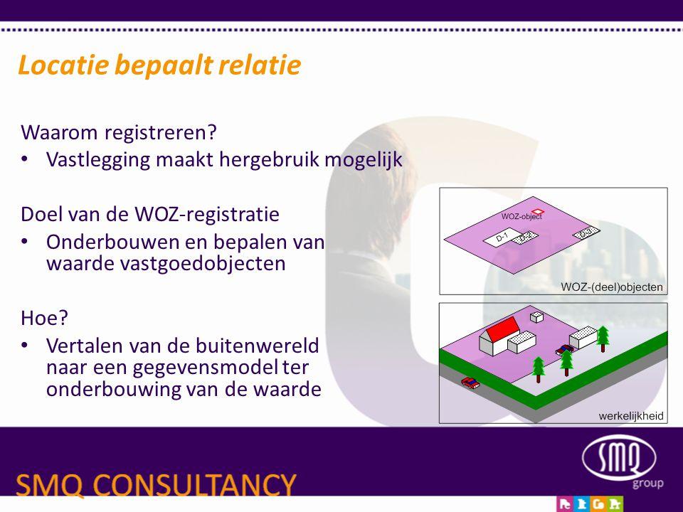 Locatie bepaalt relatie Waarom registreren? • Vastlegging maakt hergebruik mogelijk Doel van de WOZ-registratie • Onderbouwen en bepalen van waarde va