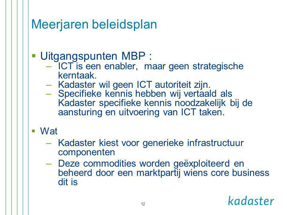 12 Meerjaren beleidsplan  Uitgangspunten MBP : –ICT is een enabler, maar geen strategische kerntaak. –Kadaster wil geen ICT autoriteit zijn. –Specifi
