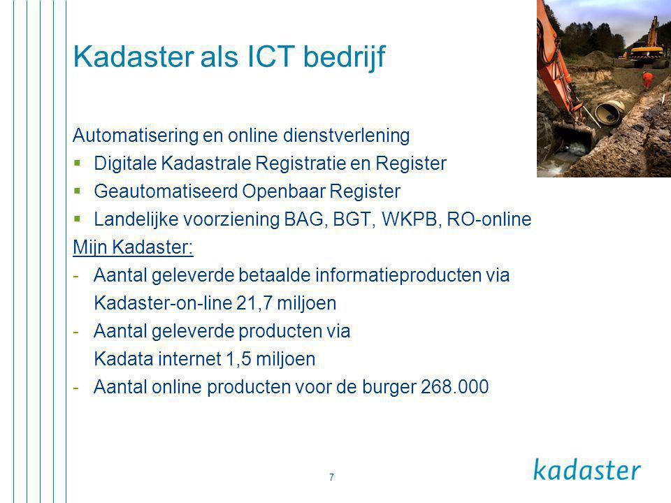 7 Kadaster als ICT bedrijf Automatisering en online dienstverlening  Digitale Kadastrale Registratie en Register  Geautomatiseerd Openbaar Register  Landelijke voorziening BAG, BGT, WKPB, RO-online Mijn Kadaster: -Aantal geleverde betaalde informatieproducten via Kadaster-on-line 21,7 miljoen -Aantal geleverde producten via Kadata internet 1,5 miljoen -Aantal online producten voor de burger 268.000