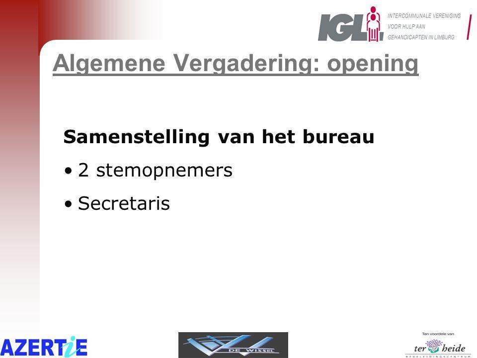 Algemene Vergadering: opening Samenstelling van het bureau •2 stemopnemers •Secretaris