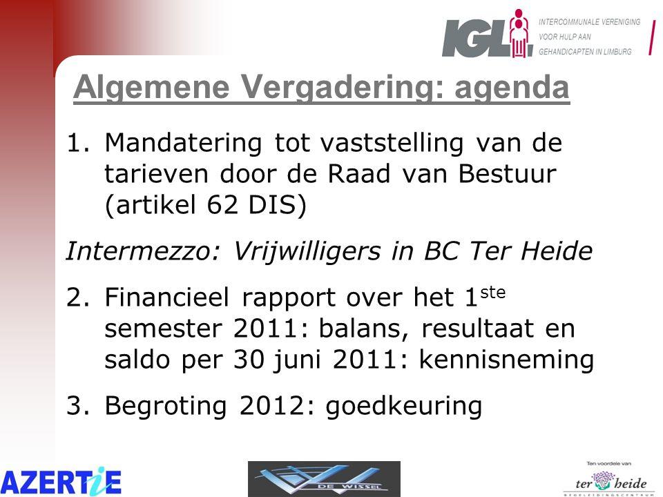 Vergelijkende cijfers IGL Halfjaarlijkse cijfers 2011 Begroting 2012