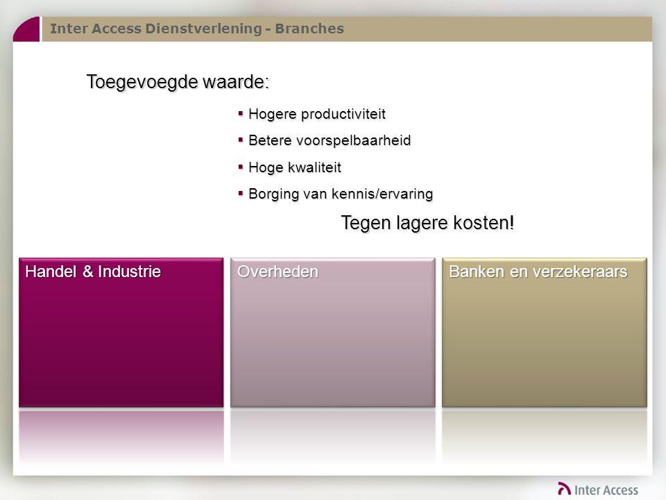 Inter Access Dienstverlening - Branches Toegevoegde waarde:  Hogere productiviteit  Betere voorspelbaarheid  Hoge kwaliteit  Borging van kennis/ervaring Tegen lagere kosten!